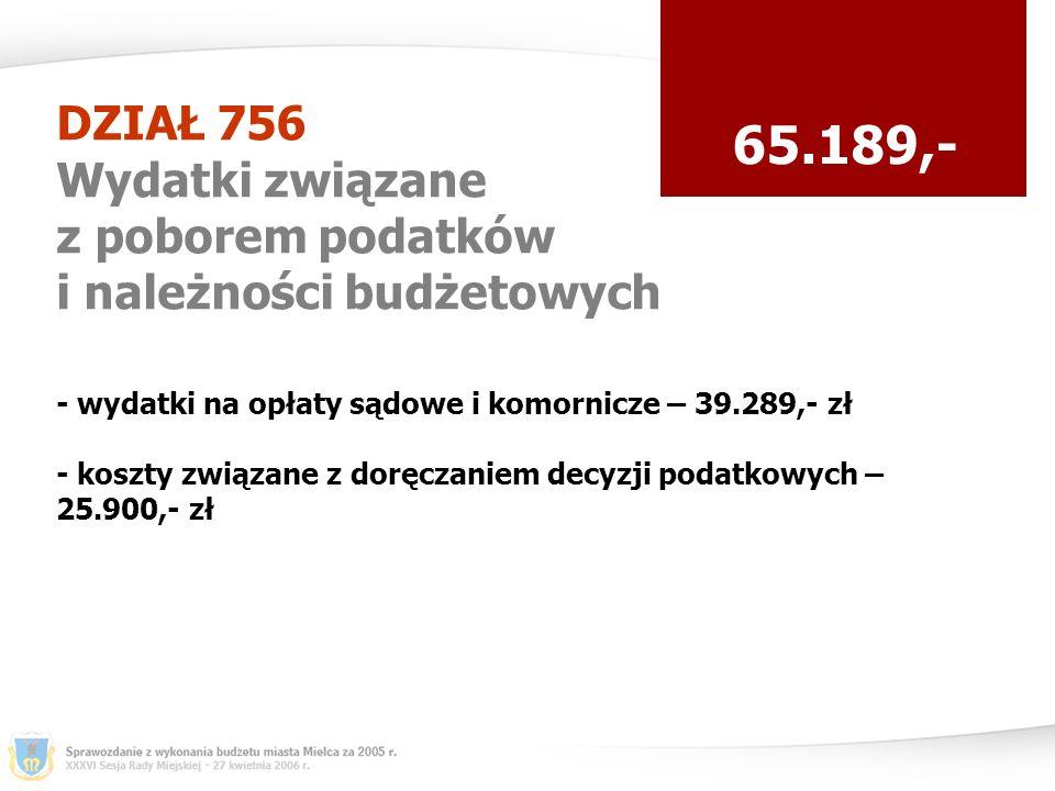 DZIAŁ 756 Wydatki związane z poborem podatków i należności budżetowych 65.189,- - wydatki na opłaty sądowe i komornicze – 39.289,- zł - koszty związane z doręczaniem decyzji podatkowych – 25.900,- zł