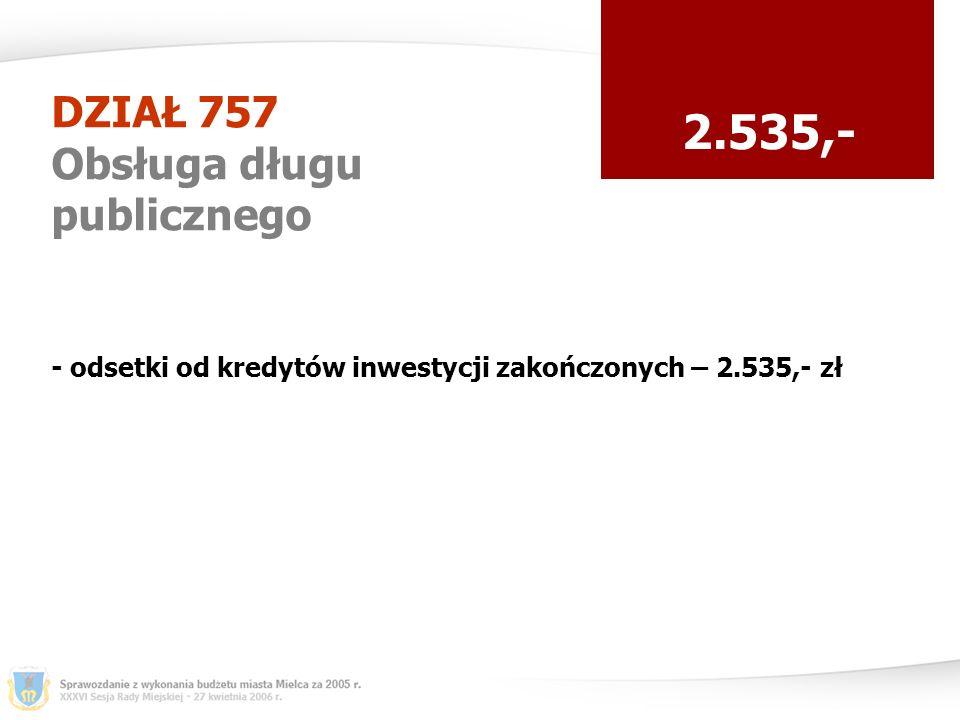 DZIAŁ 757 Obsługa długu publicznego 2.535,- - odsetki od kredytów inwestycji zakończonych – 2.535,- zł