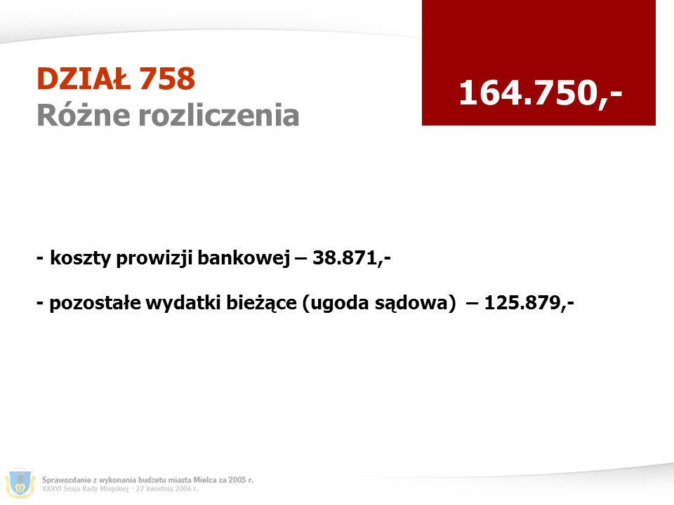 DZIAŁ 758 Różne rozliczenia 164.750,- - koszty prowizji bankowej – 38.871,- - pozostałe wydatki bieżące (ugoda sądowa) – 125.879,-