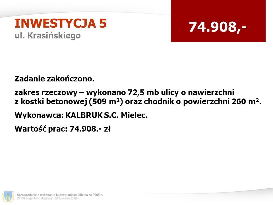 INWESTYCJA 5 ul. Krasińskiego 74.908,- Zadanie zakończono.