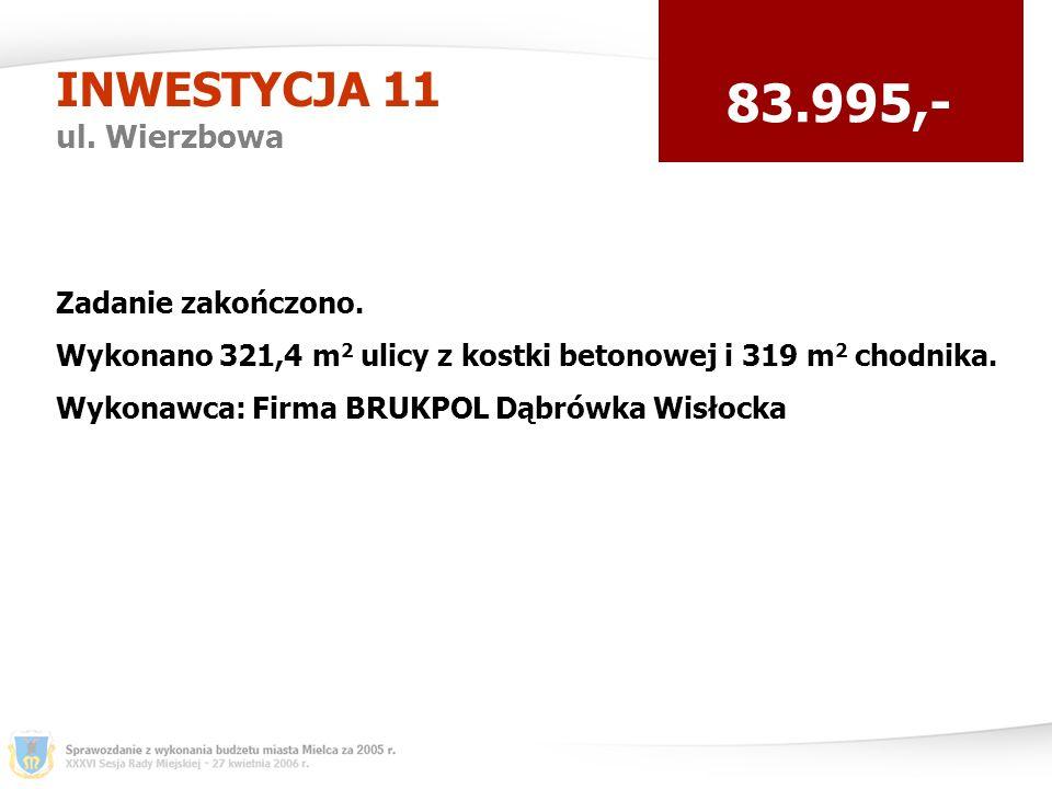 INWESTYCJA 11 ul. Wierzbowa 83.995,- Zadanie zakończono.