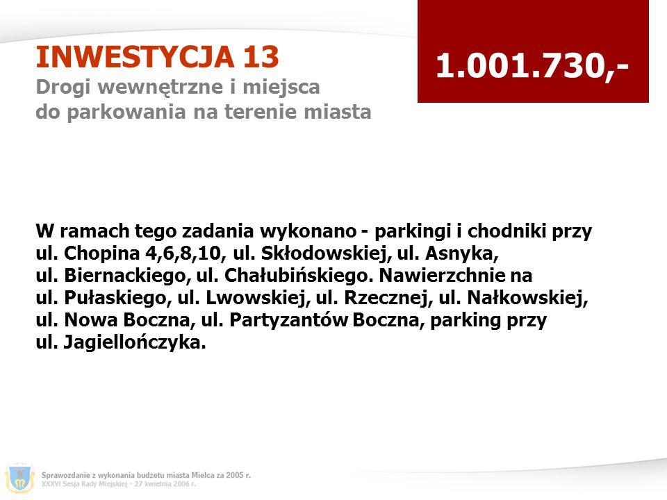 INWESTYCJA 13 Drogi wewnętrzne i miejsca do parkowania na terenie miasta 1.001.730,- W ramach tego zadania wykonano - parkingi i chodniki przy ul.