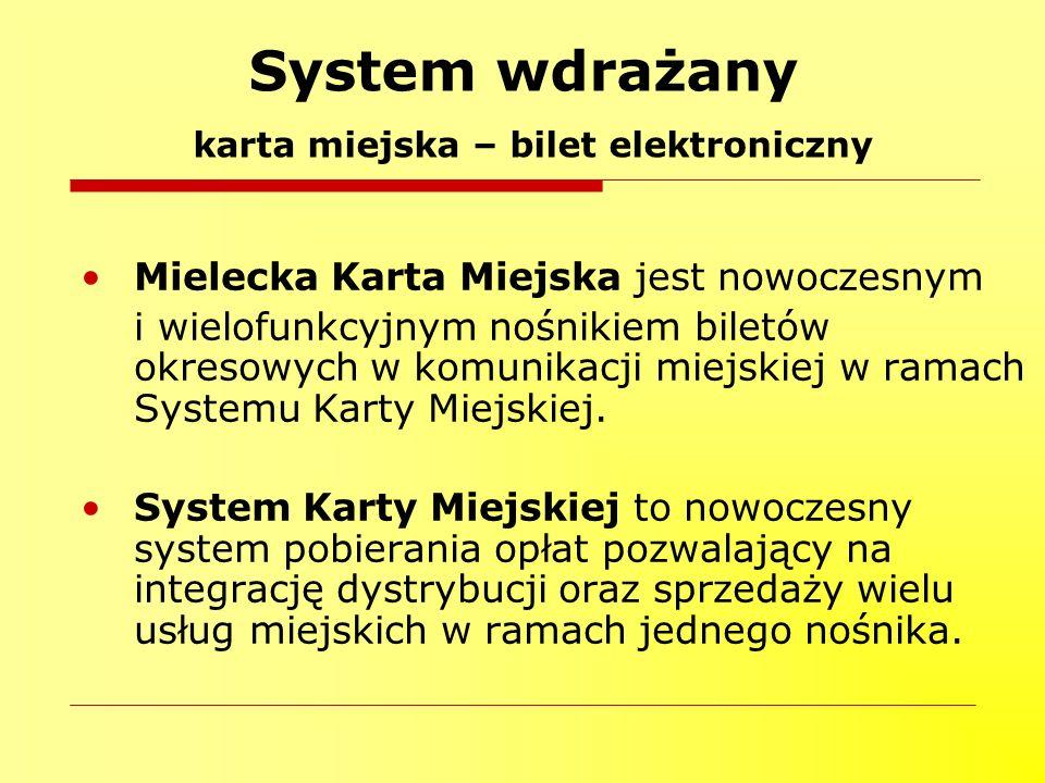 Mielecka Karta Miejska jest nowoczesnym i wielofunkcyjnym nośnikiem biletów okresowych w komunikacji miejskiej w ramach Systemu Karty Miejskiej. Syste