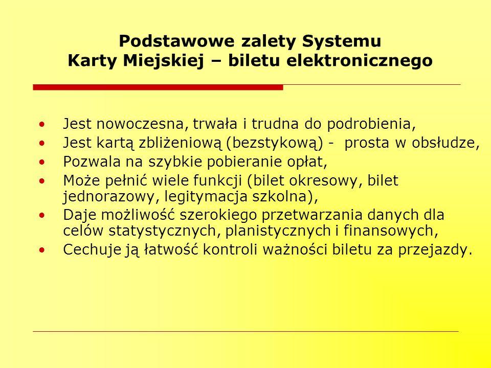 Podstawowe zalety Systemu Karty Miejskiej – biletu elektronicznego Jest nowoczesna, trwała i trudna do podrobienia, Jest kartą zbliżeniową (bezstykową