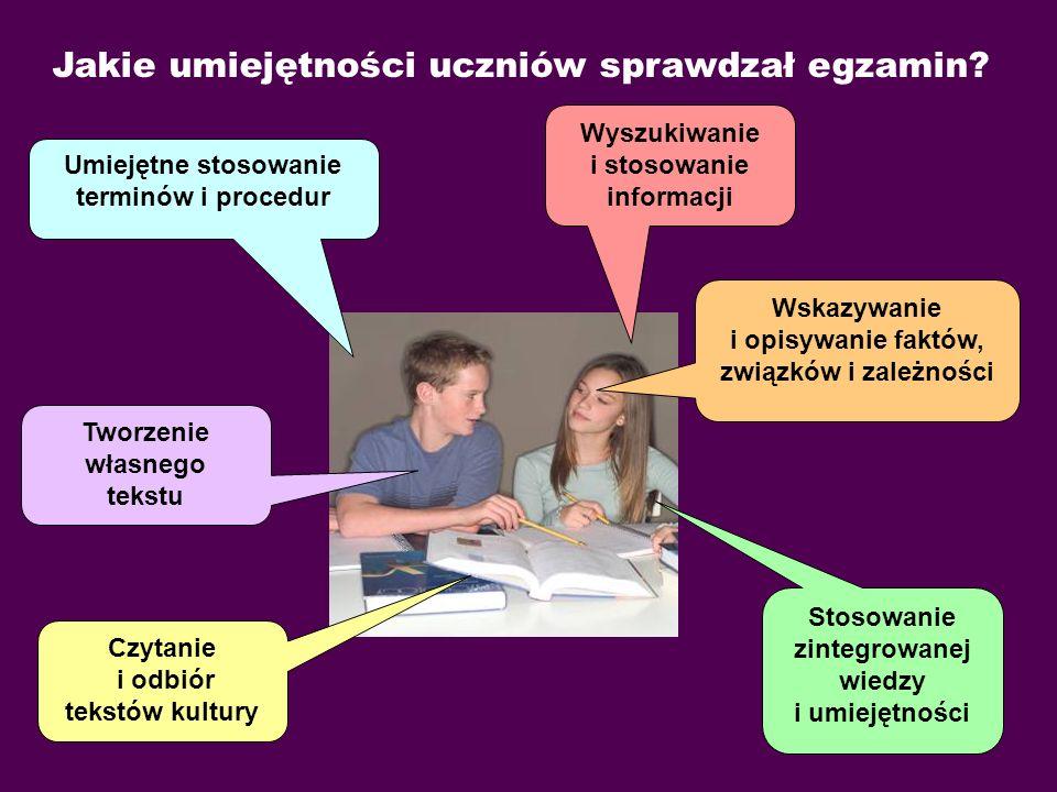 Poziom osiągnięć uczniów na egzaminie gimnazjalnym w 2009 r. z części humanistycznej.