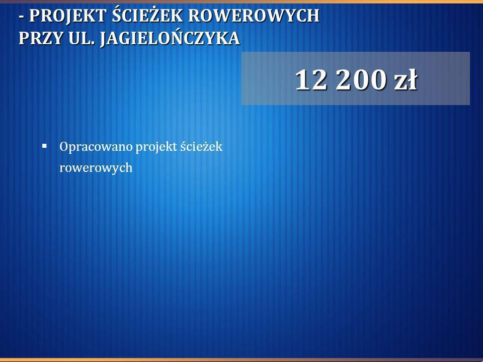 - PROJEKT ŚCIEŻEK ROWEROWYCH PRZY UL. JAGIELOŃCZYKA Opracowano projekt ścieżek rowerowych 12 200 zł
