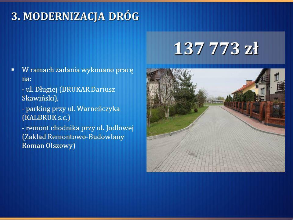3. MODERNIZACJA DRÓG W ramach zadania wykonano pracę na: - ul. Długiej (BRUKAR Dariusz Skawiński), - parking przy ul. Warneńczyka (KALBRUK s.c.) - rem