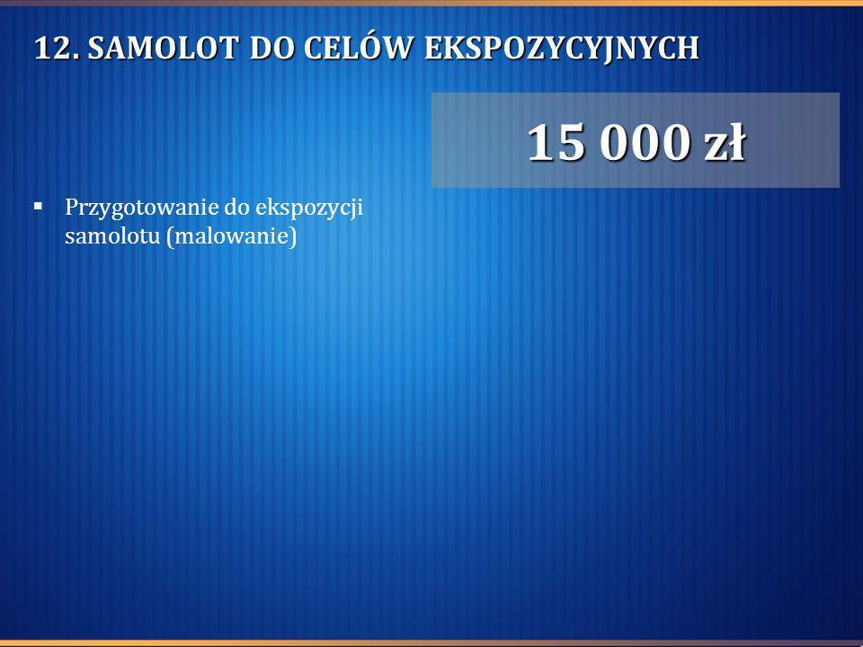 12. SAMOLOT DO CELÓW EKSPOZYCYJNYCH Przygotowanie do ekspozycji samolotu (malowanie) 15 000 zł