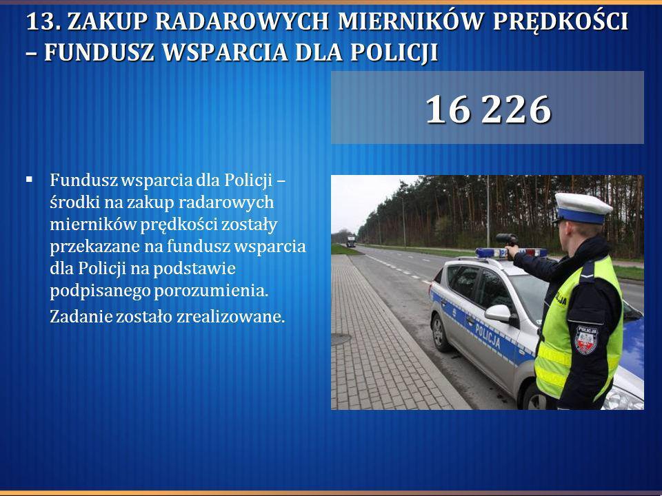 13. ZAKUP RADAROWYCH MIERNIKÓW PRĘDKOŚCI – FUNDUSZ WSPARCIA DLA POLICJI Fundusz wsparcia dla Policji – środki na zakup radarowych mierników prędkości