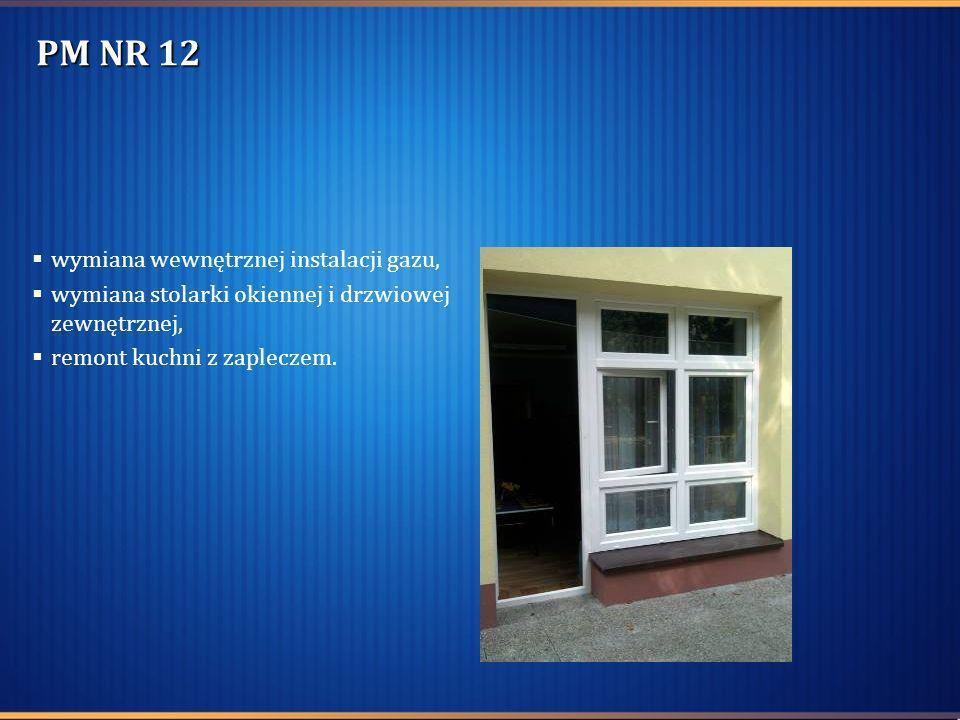 PM NR 12 wymiana wewnętrznej instalacji gazu, wymiana stolarki okiennej i drzwiowej zewnętrznej, remont kuchni z zapleczem.