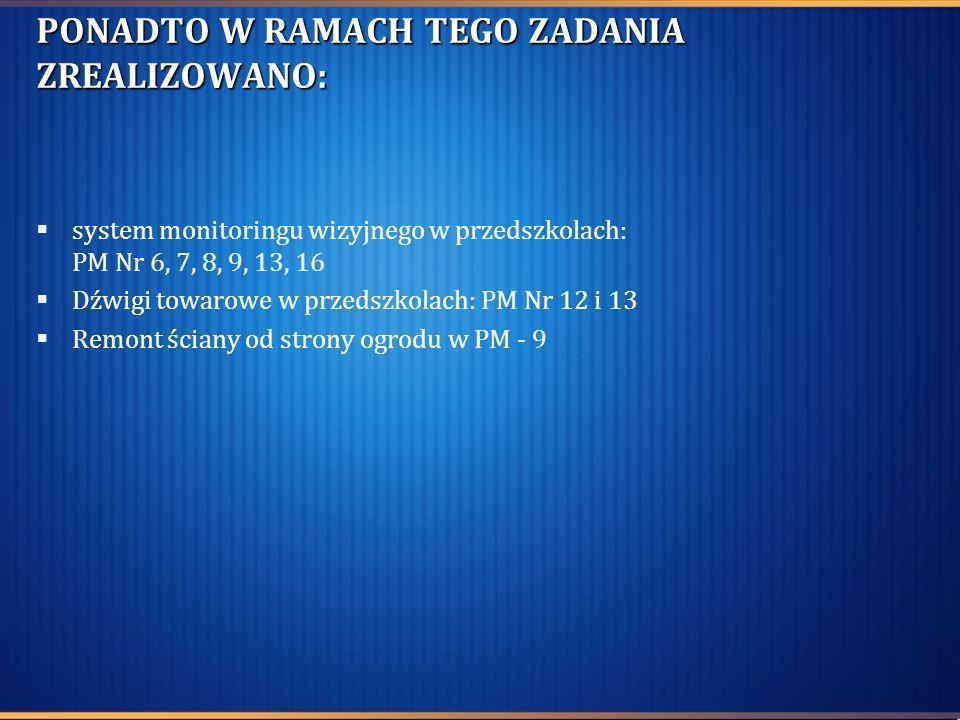 PONADTO W RAMACH TEGO ZADANIA ZREALIZOWANO: system monitoringu wizyjnego w przedszkolach: PM Nr 6, 7, 8, 9, 13, 16 Dźwigi towarowe w przedszkolach: PM