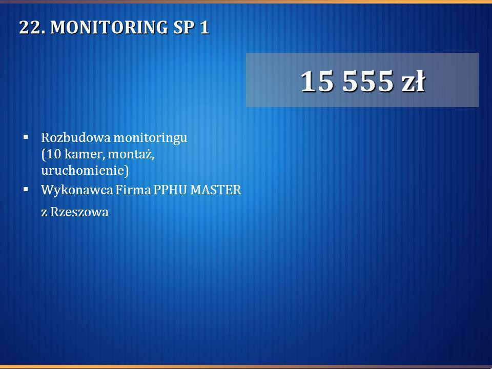 22. MONITORING SP 1 Rozbudowa monitoringu (10 kamer, montaż, uruchomienie) Wykonawca Firma PPHU MASTER z Rzeszowa 15 555 zł
