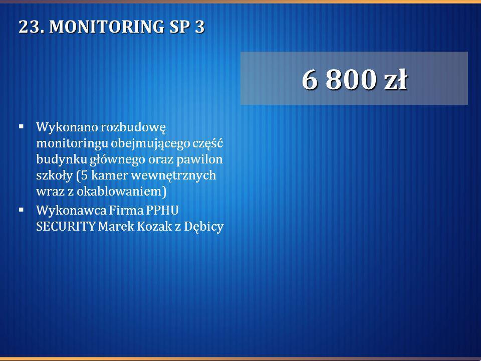 23. MONITORING SP 3 Wykonano rozbudowę monitoringu obejmującego część budynku głównego oraz pawilon szkoły (5 kamer wewnętrznych wraz z okablowaniem)