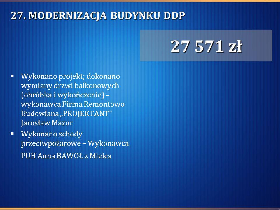 27. MODERNIZACJA BUDYNKU DDP Wykonano projekt; dokonano wymiany drzwi balkonowych (obróbka i wykończenie) – wykonawca Firma Remontowo Budowlana PROJEK