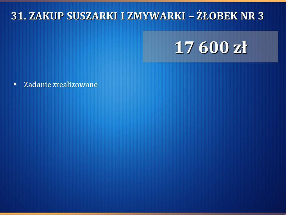 31. ZAKUP SUSZARKI I ZMYWARKI – ŻŁOBEK NR 3 Zadanie zrealizowane 17 600 zł