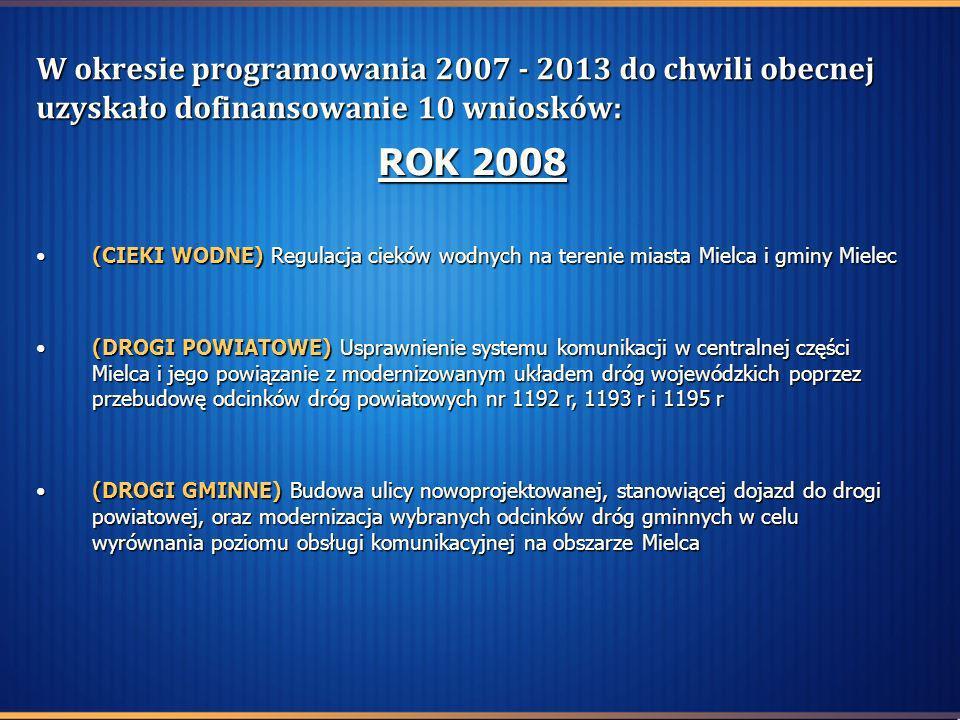 W okresie programowania 2007 - 2013 do chwili obecnej uzyskało dofinansowanie 10 wniosków: ROK 2008 (CIEKI WODNE) Regulacja cieków wodnych na terenie