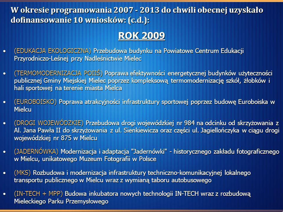W okresie programowania 2007 - 2013 do chwili obecnej uzyskało dofinansowanie 10 wniosków: (c.d.): ROK 2009 (EDUKACJA EKOLOGICZNA) Przebudowa budynku