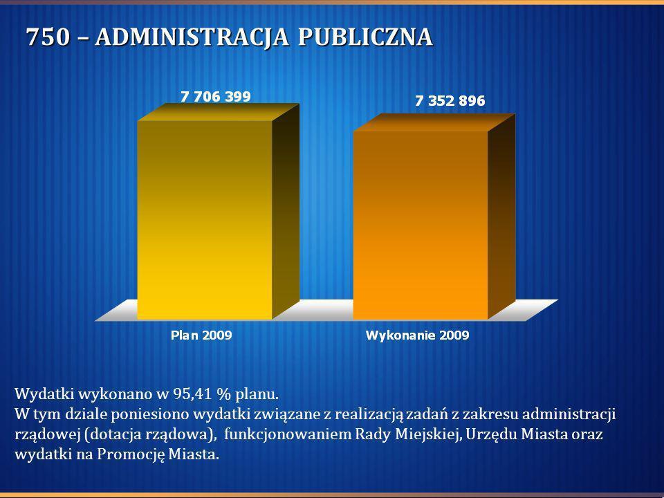 750 – ADMINISTRACJA PUBLICZNA Wydatki wykonano w 95,41 % planu. W tym dziale poniesiono wydatki związane z realizacją zadań z zakresu administracji rz