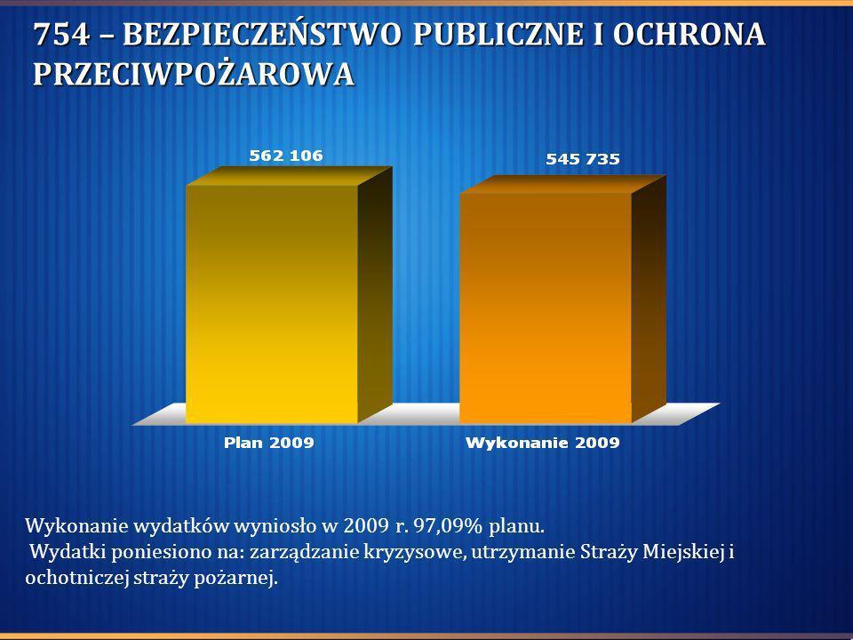 754 – BEZPIECZEŃSTWO PUBLICZNE I OCHRONA PRZECIWPOŻAROWA Wykonanie wydatków wyniosło w 2009 r. 97,09% planu. Wydatki poniesiono na: zarządzanie kryzys