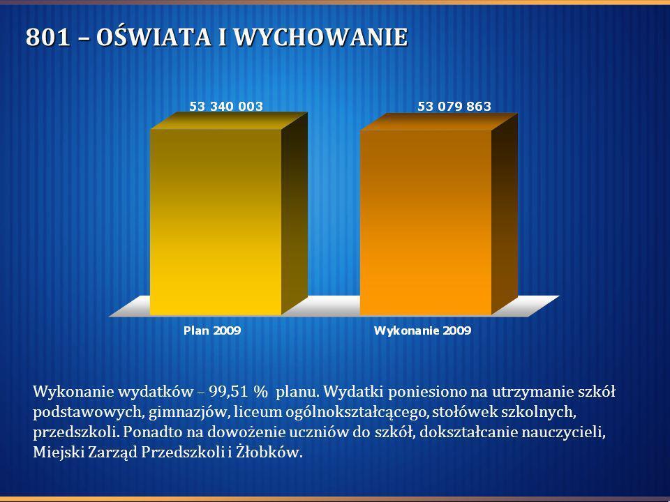 801 – OŚWIATA I WYCHOWANIE Wykonanie wydatków – 99,51 % planu. Wydatki poniesiono na utrzymanie szkół podstawowych, gimnazjów, liceum ogólnokształcące