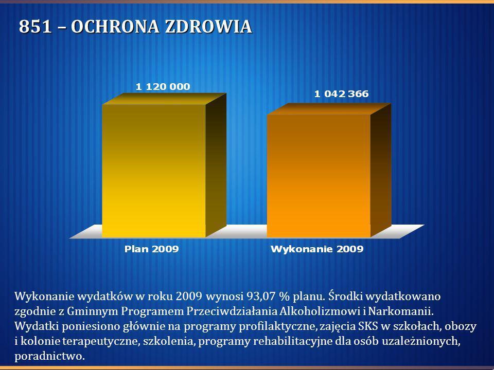 851 – OCHRONA ZDROWIA Wykonanie wydatków w roku 2009 wynosi 93,07 % planu. Środki wydatkowano zgodnie z Gminnym Programem Przeciwdziałania Alkoholizmo