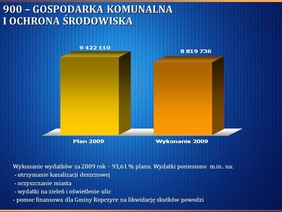 900 – GOSPODARKA KOMUNALNA I OCHRONA ŚRODOWISKA Wykonanie wydatków za 2009 rok – 93,61 % planu. Wydatki poniesiono m.in.. na: - utrzymanie kanalizacji