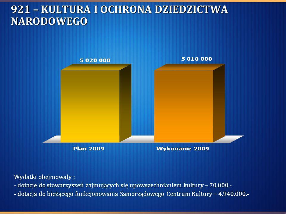 921 – KULTURA I OCHRONA DZIEDZICTWA NARODOWEGO Wydatki obejmowały : - dotacje do stowarzyszeń zajmujących się upowszechnianiem kultury – 70.000.- - do