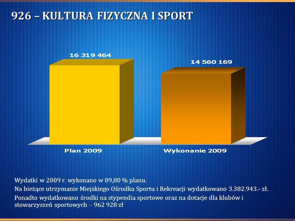 926 – KULTURA FIZYCZNA I SPORT Wydatki w 2009 r. wykonano w 89,80 % planu. Na bieżące utrzymanie Miejskiego Ośrodka Sportu i Rekreacji wydatkowano 3.3