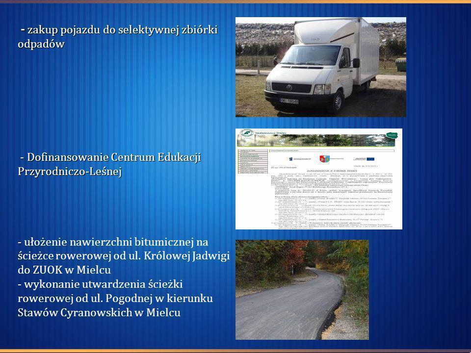 - zakup pojazdu do selektywnej zbiórki odpadów - Dofinansowanie Centrum Edukacji Przyrodniczo-Leśnej - - zakup pojazdu do selektywnej zbiórki odpadów