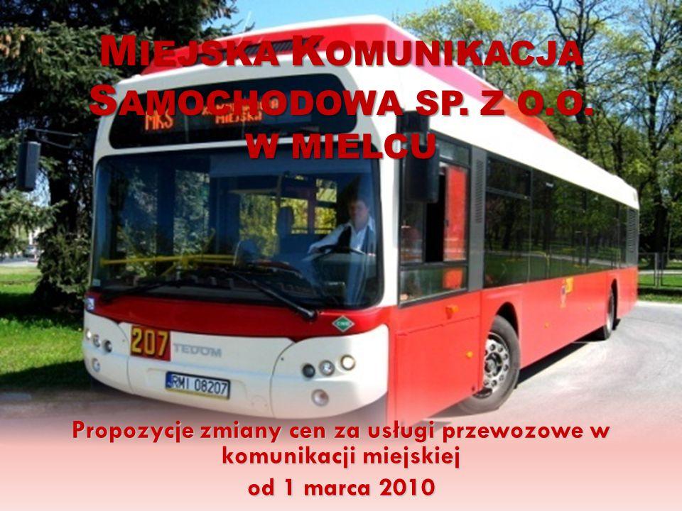 M IEJSKA K OMUNIKACJA S AMOCHODOWA SP. Z O.O. W MIELCU Propozycje zmiany cen za usługi przewozowe w komunikacji miejskiej od 1 marca 2010