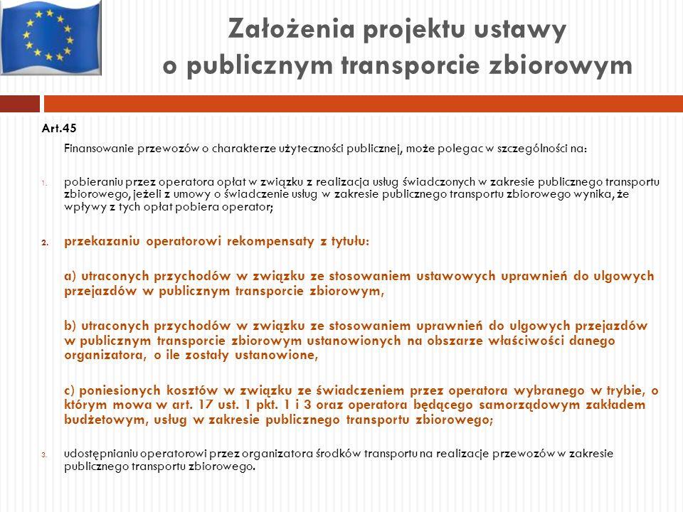 Założenia projektu ustawy o publicznym transporcie zbiorowym Art.45 Finansowanie przewozów o charakterze użyteczności publicznej, może polegac w szcze
