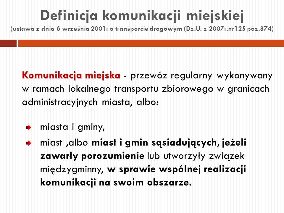 Definicja komunikacji miejskiej (ustawa z dnia 6 września 2001r o transporcie drogowym (Dz.U. z 2007r.nr125 poz.874) Komunikacja miejska Komunikacja m