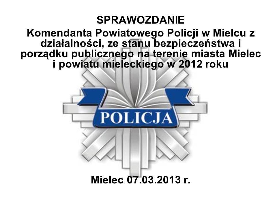 SPRAWOZDANIE Komendanta Powiatowego Policji w Mielcu z działalności, ze stanu bezpieczeństwa i porządku publicznego na terenie miasta Mielec i powiatu