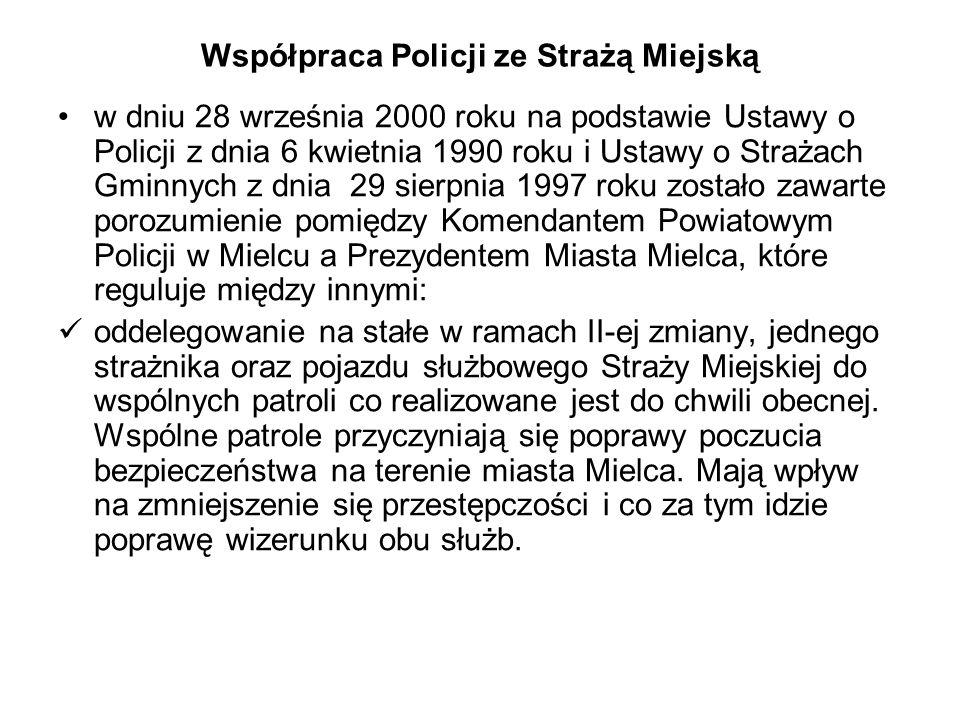 Współpraca Policji ze Strażą Miejską w dniu 28 września 2000 roku na podstawie Ustawy o Policji z dnia 6 kwietnia 1990 roku i Ustawy o Strażach Gminny