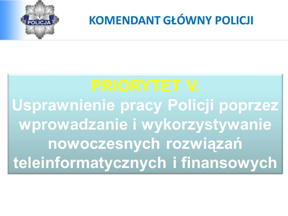 PRIORYTET V. Usprawnienie pracy Policji poprzez wprowadzanie i wykorzystywanie nowoczesnych rozwiązań teleinformatycznych i finansowych PRIORYTET V. U