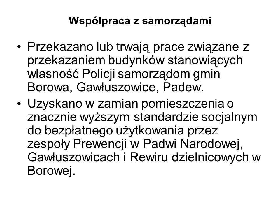 Współpraca z samorządami Przekazano lub trwają prace związane z przekazaniem budynków stanowiących własność Policji samorządom gmin Borowa, Gawłuszowi