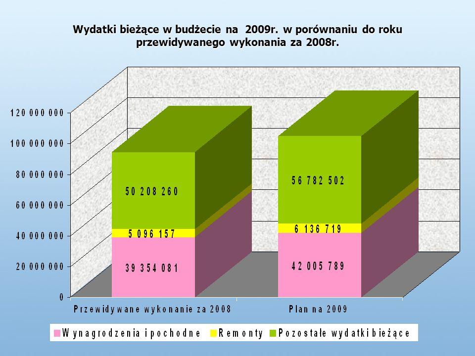 Wydatki bieżące w budżecie na 2009r. w porównaniu do roku przewidywanego wykonania za 2008r.