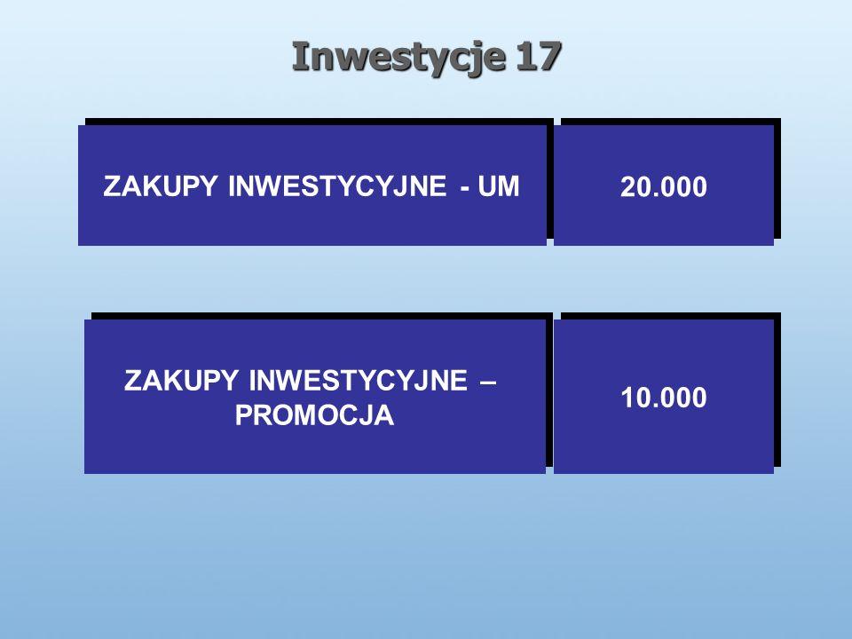 Inwestycje 17 ZAKUPY INWESTYCYJNE - UM 20.000 ZAKUPY INWESTYCYJNE – PROMOCJA ZAKUPY INWESTYCYJNE – PROMOCJA 10.000