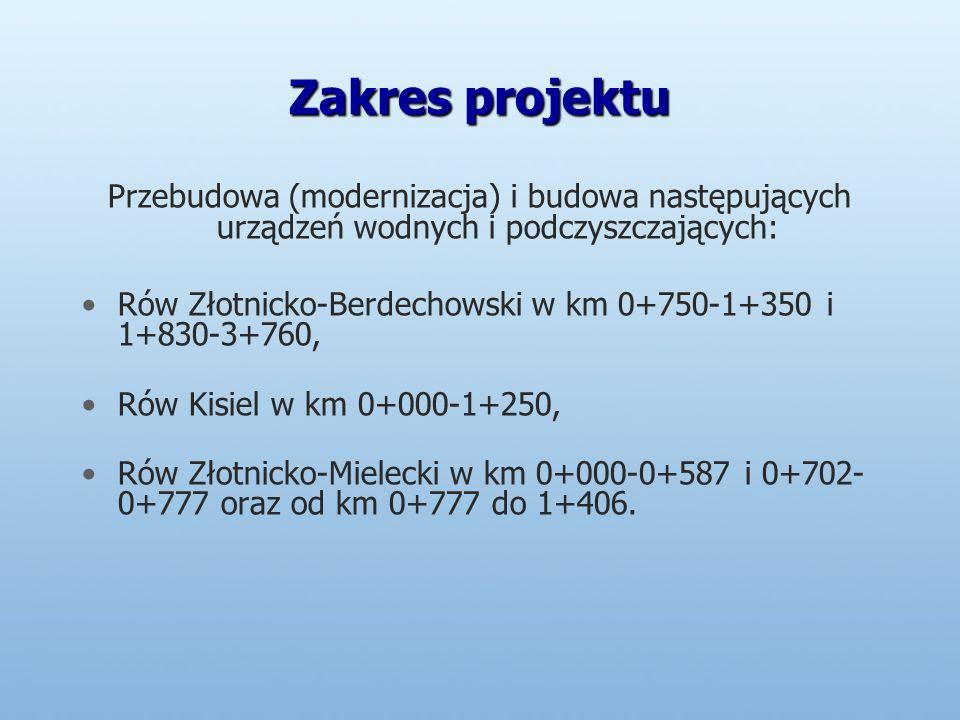 Zakres projektu Przebudowa (modernizacja) i budowa następujących urządzeń wodnych i podczyszczających: Rów Złotnicko-Berdechowski w km 0+750-1+350 i 1+830-3+760, Rów Kisiel w km 0+000-1+250, Rów Złotnicko-Mielecki w km 0+000-0+587 i 0+702- 0+777 oraz od km 0+777 do 1+406.