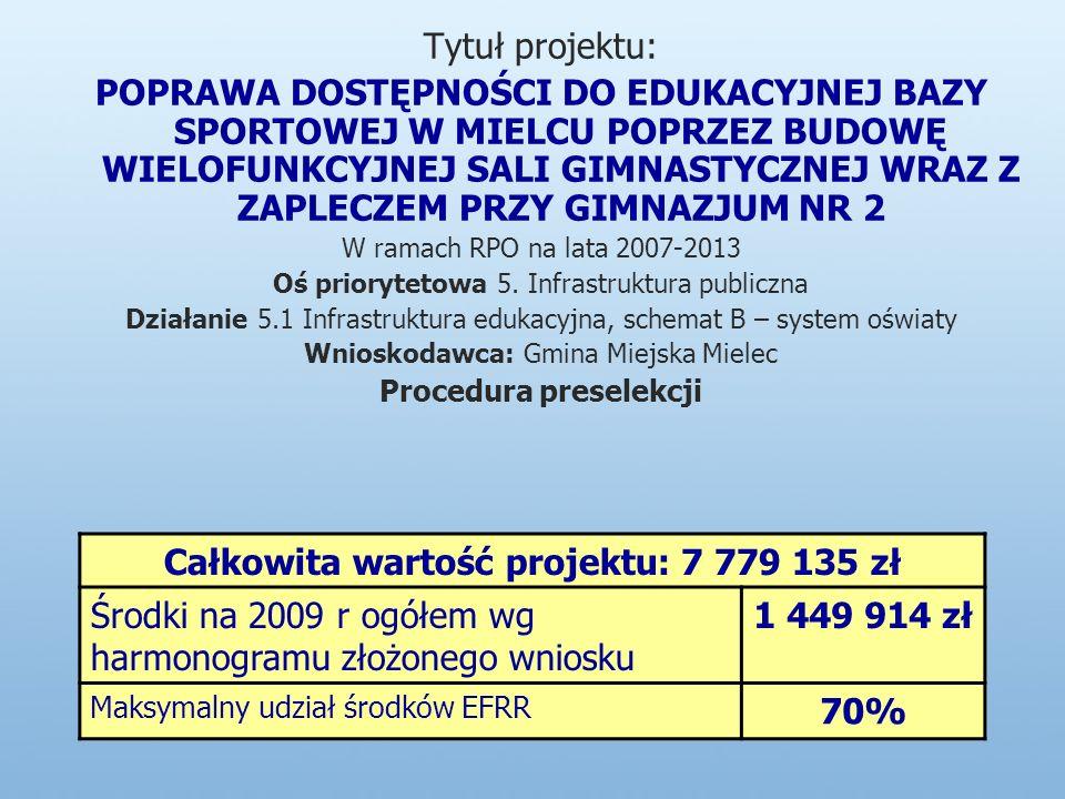 Tytuł projektu: POPRAWA DOSTĘPNOŚCI DO EDUKACYJNEJ BAZY SPORTOWEJ W MIELCU POPRZEZ BUDOWĘ WIELOFUNKCYJNEJ SALI GIMNASTYCZNEJ WRAZ Z ZAPLECZEM PRZY GIMNAZJUM NR 2 W ramach RPO na lata 2007-2013 Oś priorytetowa 5.