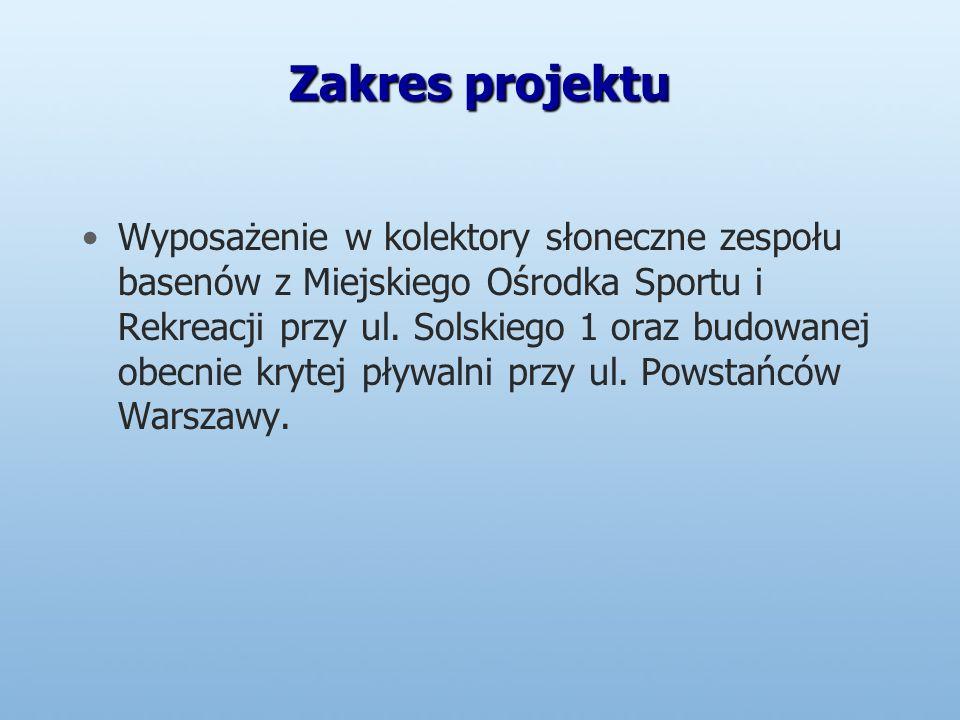 Zakres projektu Wyposażenie w kolektory słoneczne zespołu basenów z Miejskiego Ośrodka Sportu i Rekreacji przy ul.
