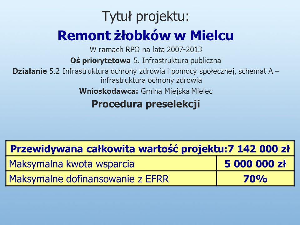 Tytuł projektu: Remont żłobków w Mielcu W ramach RPO na lata 2007-2013 Oś priorytetowa 5.