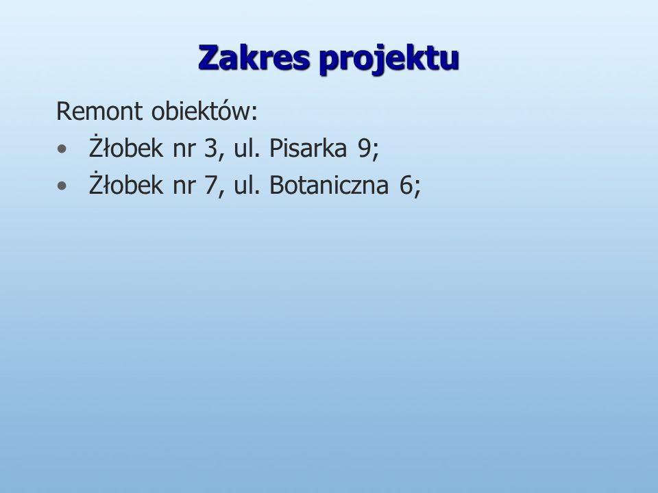 Zakres projektu Remont obiektów: Żłobek nr 3, ul. Pisarka 9; Żłobek nr 7, ul. Botaniczna 6;