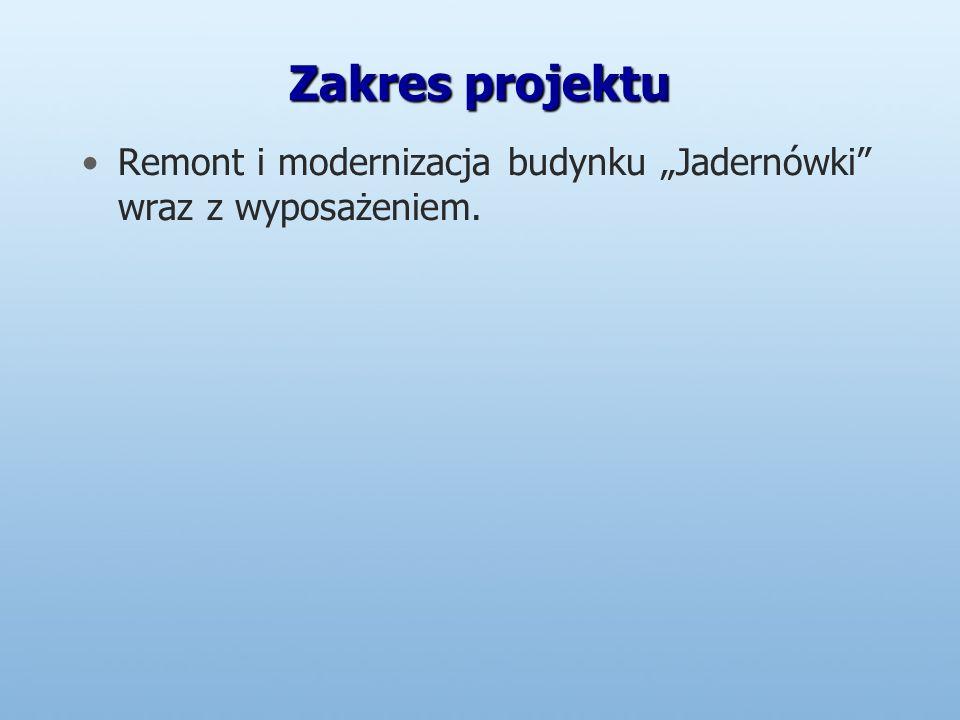 Zakres projektu Remont i modernizacja budynku Jadernówki wraz z wyposażeniem.