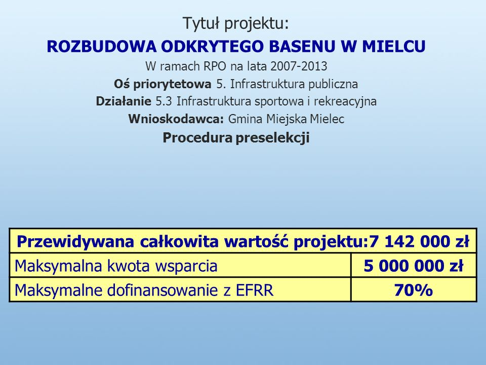 Tytuł projektu: ROZBUDOWA ODKRYTEGO BASENU W MIELCU W ramach RPO na lata 2007-2013 Oś priorytetowa 5.
