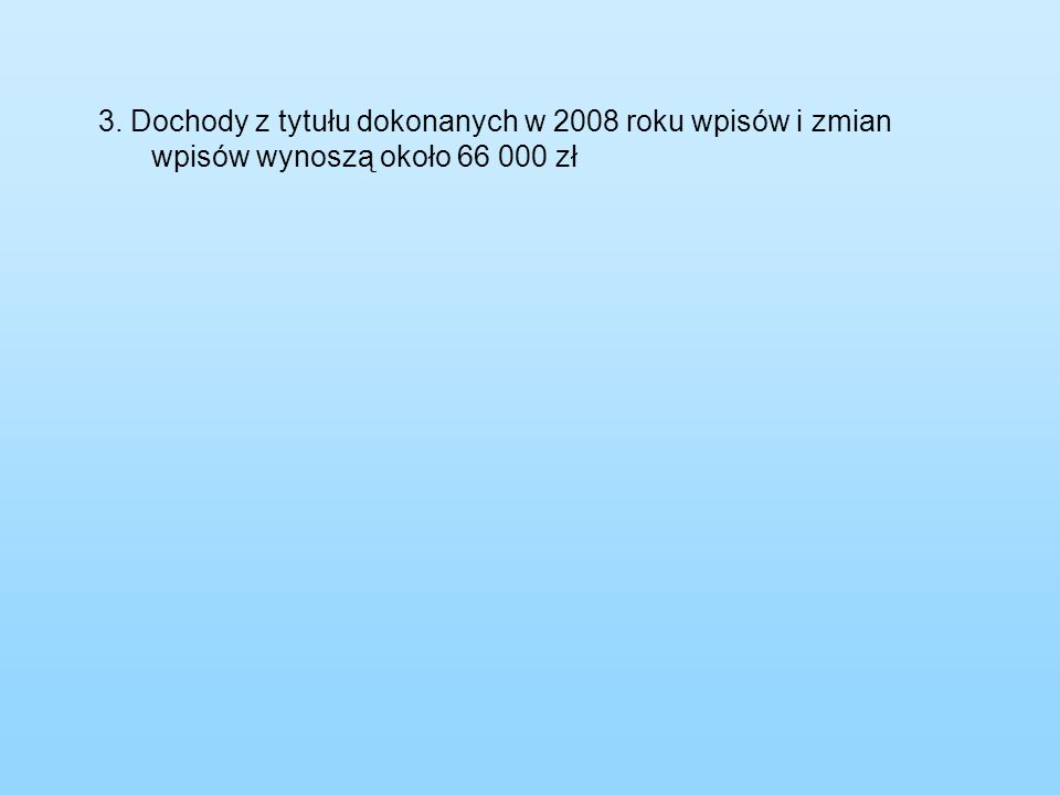 3. Dochody z tytułu dokonanych w 2008 roku wpisów i zmian wpisów wynoszą około 66 000 zł