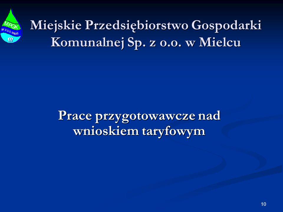 Miejskie Przedsiębiorstwo Gospodarki Komunalnej Sp. z o.o. w Mielcu Prace przygotowawcze nad wnioskiem taryfowym 10