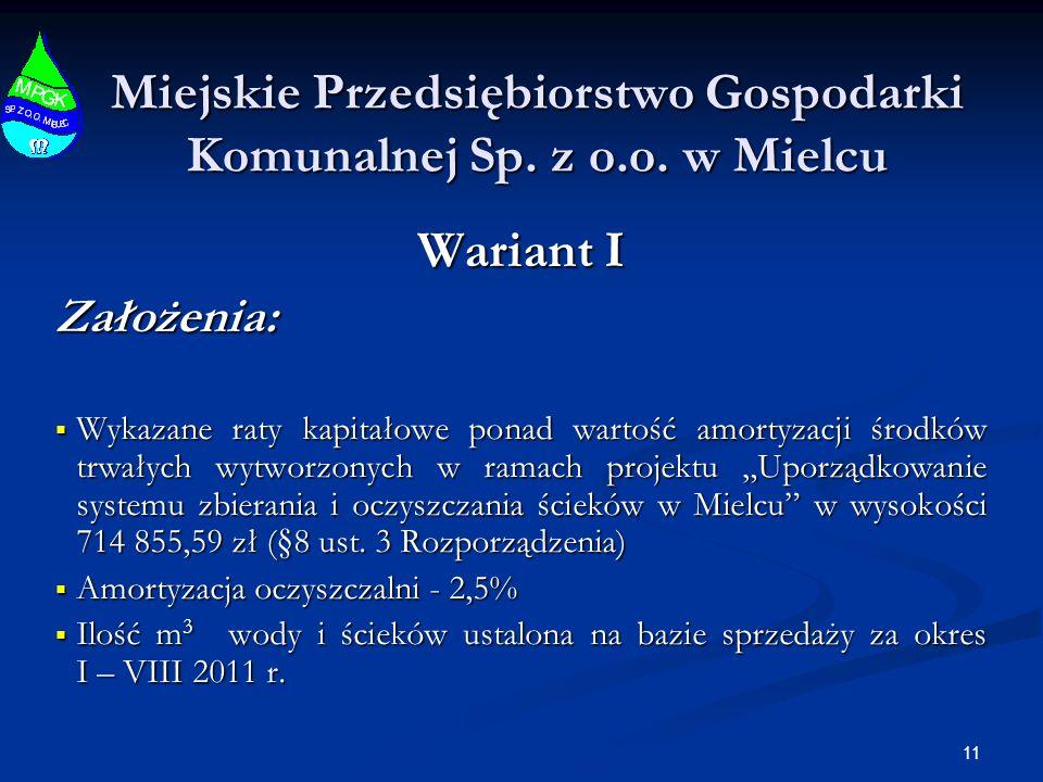 Miejskie Przedsiębiorstwo Gospodarki Komunalnej Sp. z o.o. w Mielcu Wariant I Założenia: Wykazane raty kapitałowe ponad wartość amortyzacji środków tr