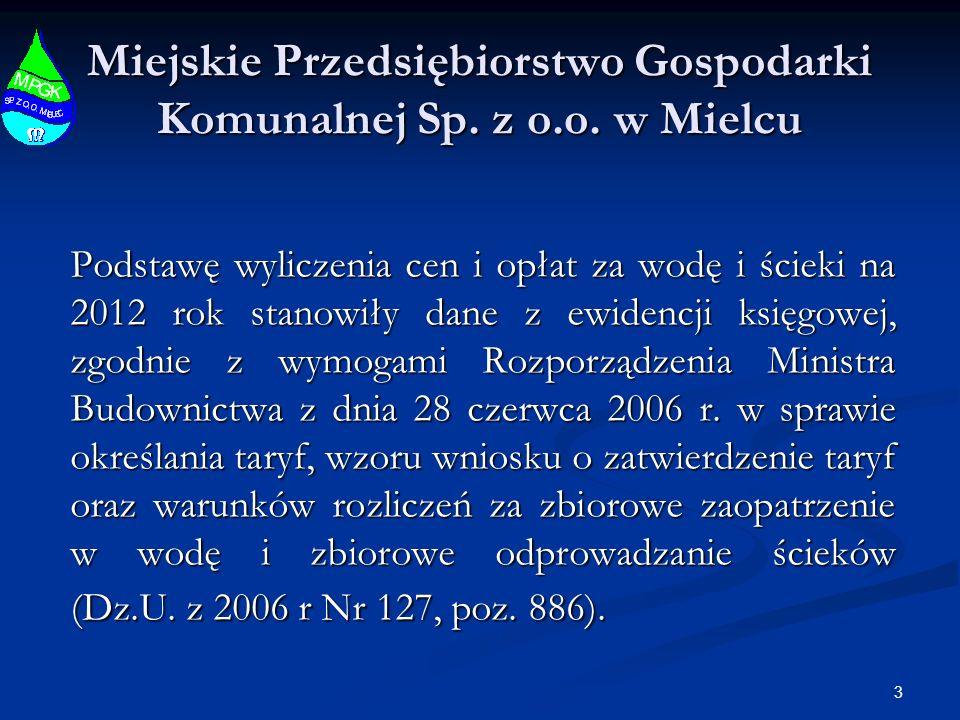 3 Miejskie Przedsiębiorstwo Gospodarki Komunalnej Sp. z o.o. w Mielcu Podstawę wyliczenia cen i opłat za wodę i ścieki na 2012 rok stanowiły dane z ew