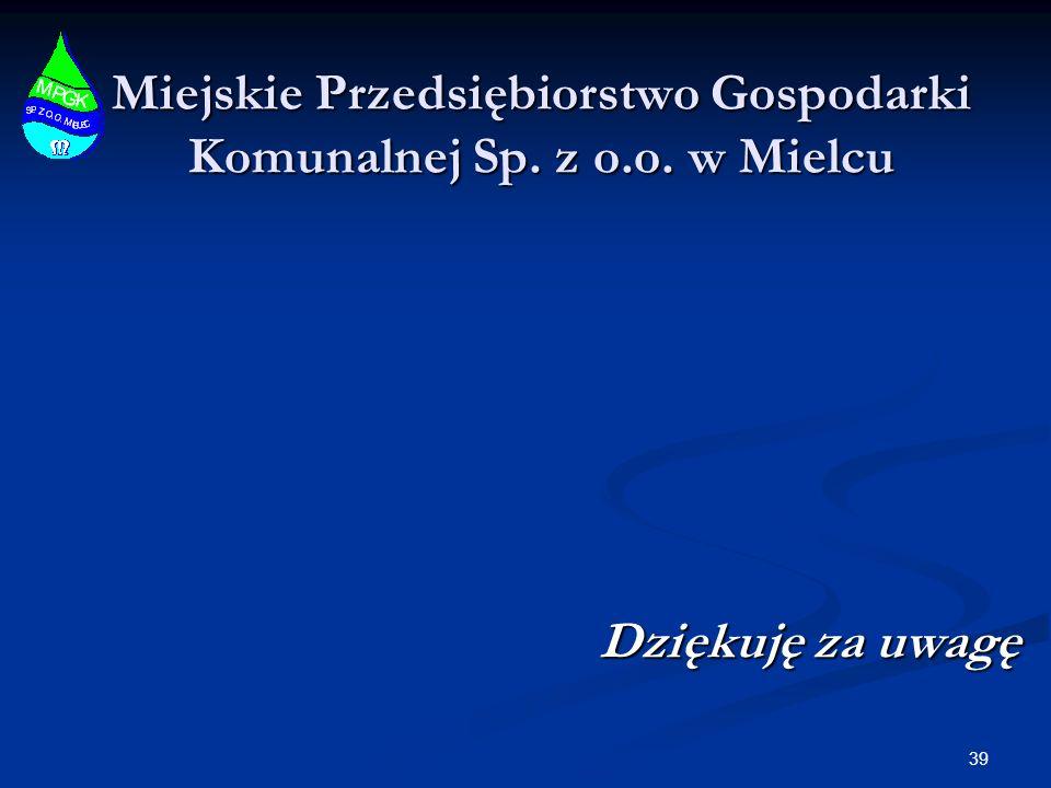 Miejskie Przedsiębiorstwo Gospodarki Komunalnej Sp. z o.o. w Mielcu Dziękuję za uwagę 39